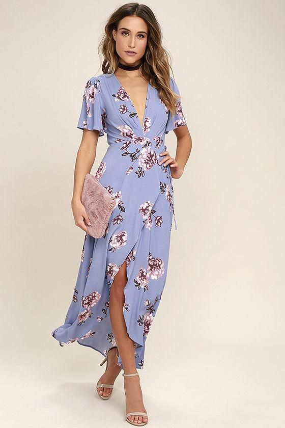 dbb81559cf4 AdoreWe - Lulus ASTR the Label Selma Periwinkle Floral Print Wrap Dress -  AdoreWe.com