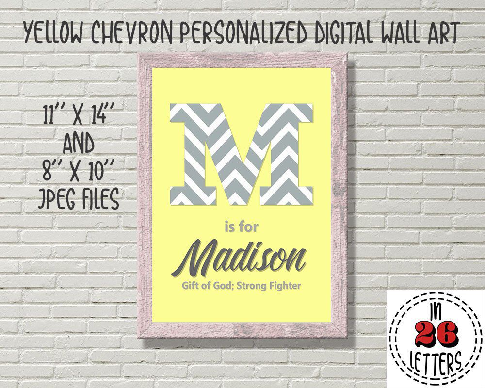 Yellow and Gray Chevron Personalized Wall Art, Custom Sign for ...