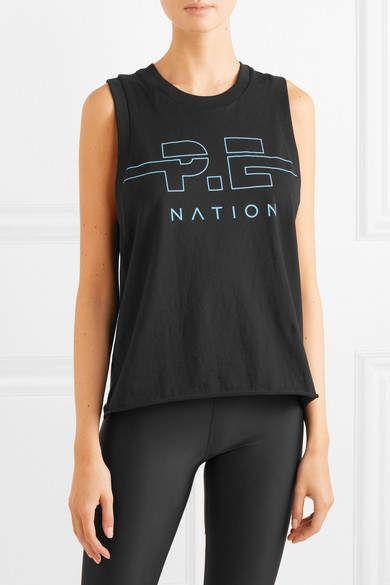 d966c61a7ce57 P.E NATION - Spike Printed Cotton-jersey Tank - Black