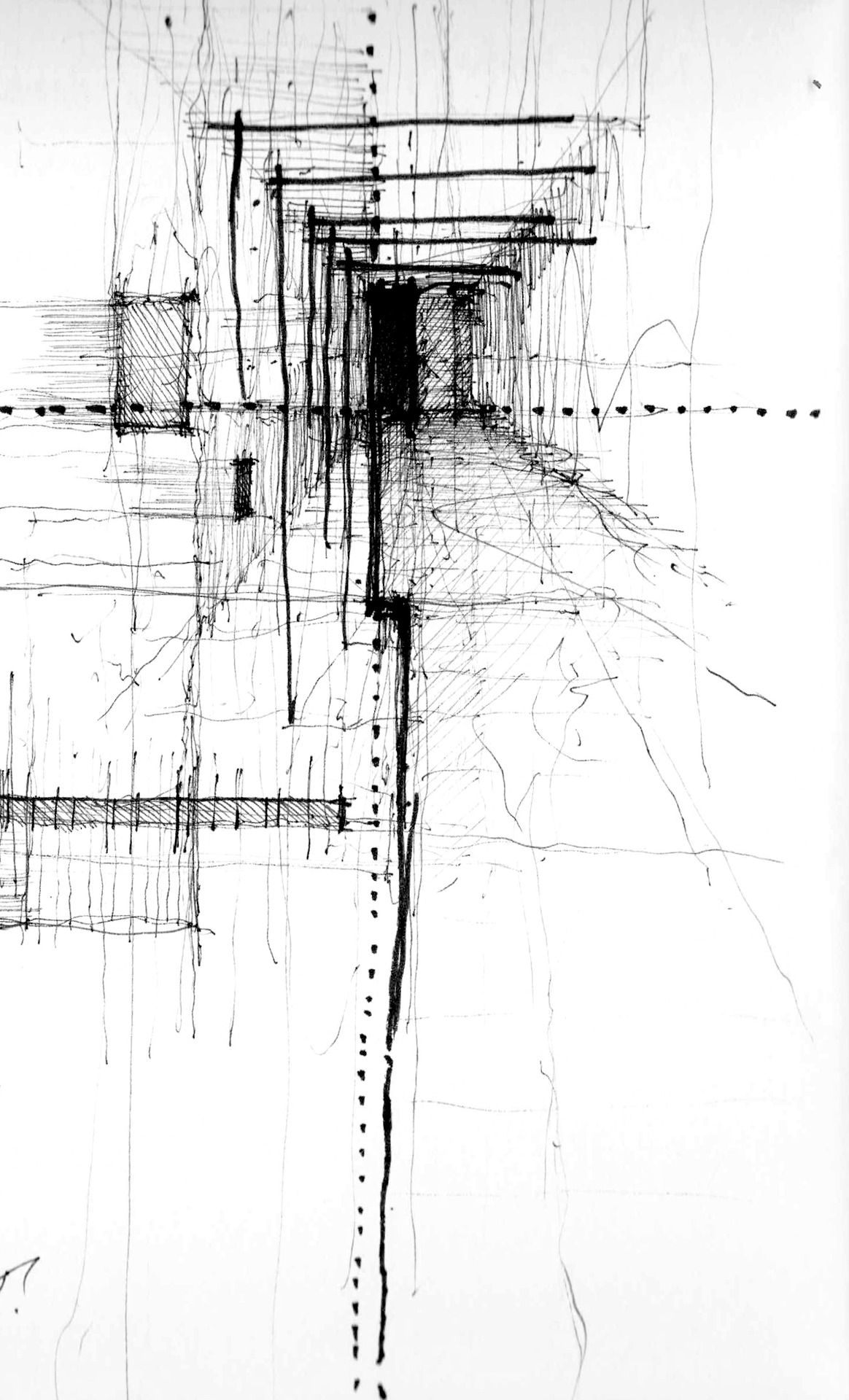 Showing Space In An Abstract Way Using Construction Lines Dessin Architecture Dessin Abstrait Peinture Abstraite