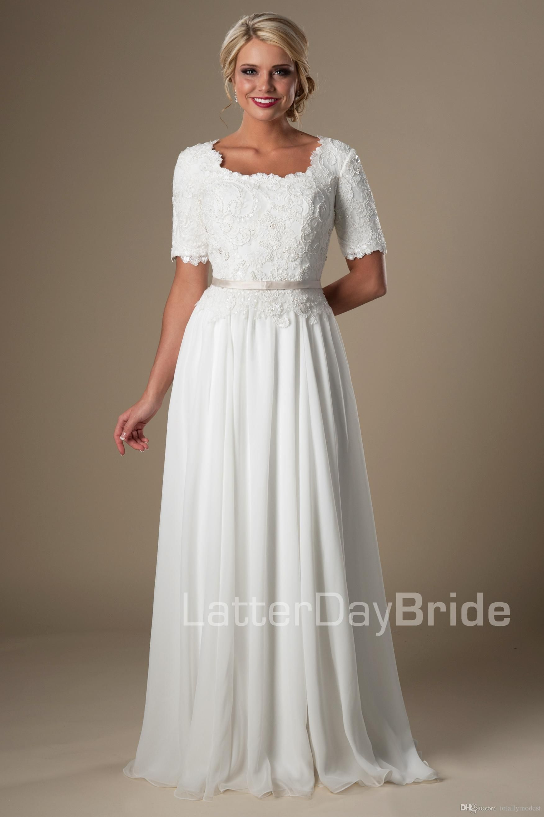 vintage lace chiffon ivory long modest wedding dresses with