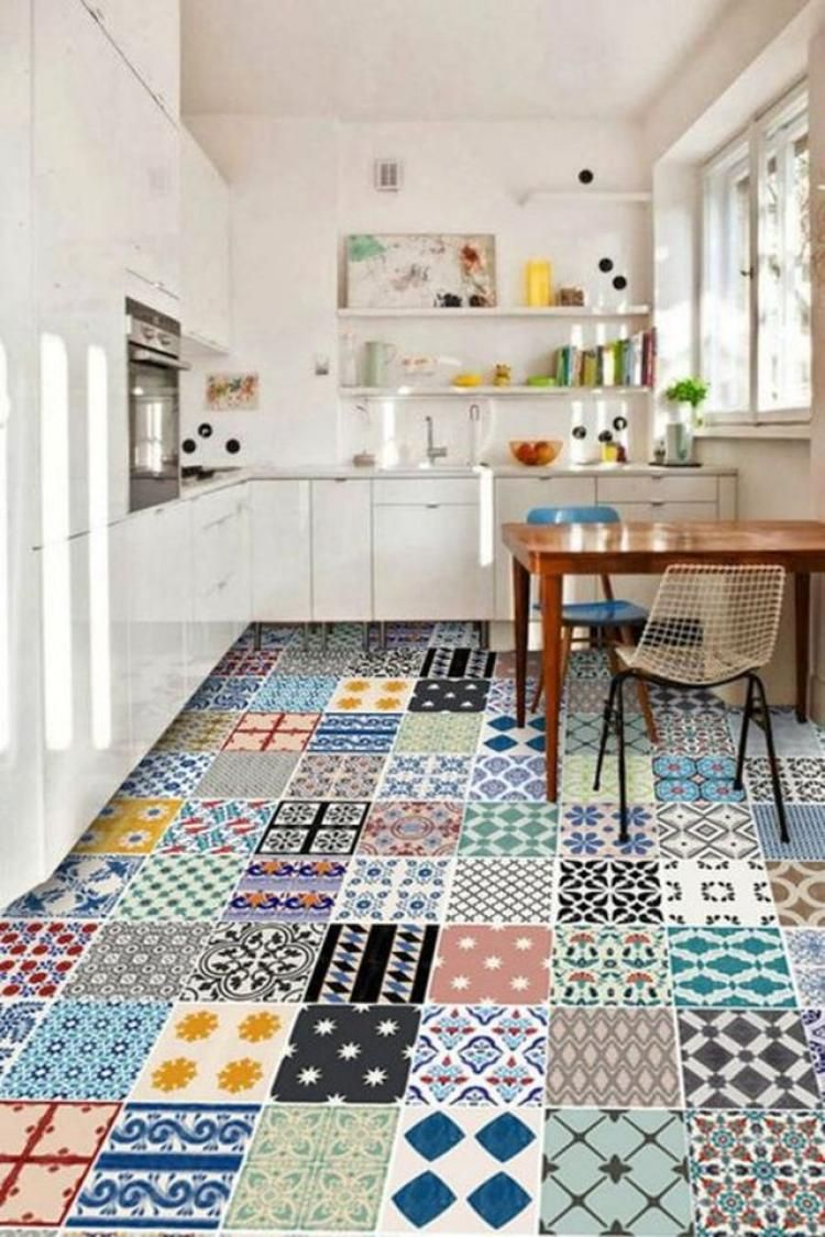 60 Wall Tile Sticker For Kitchen And Bathroom Colorful Kitchen Decor Kitchen Tiles Floor Decal