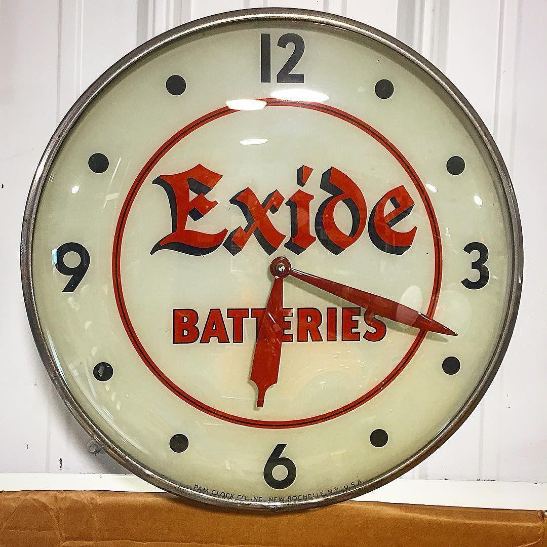 "metro_signs: ""Exide batteries Pam clock. #gaspump #garage #gasandoil #petroliana #camaro #hotrod #sign #oil #antique"""