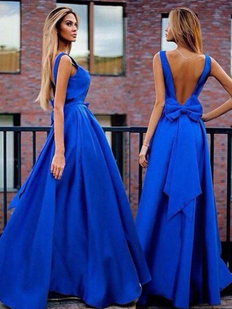 Kaiser Blau Abiballkleider/Abendkleider bodenlang Satin