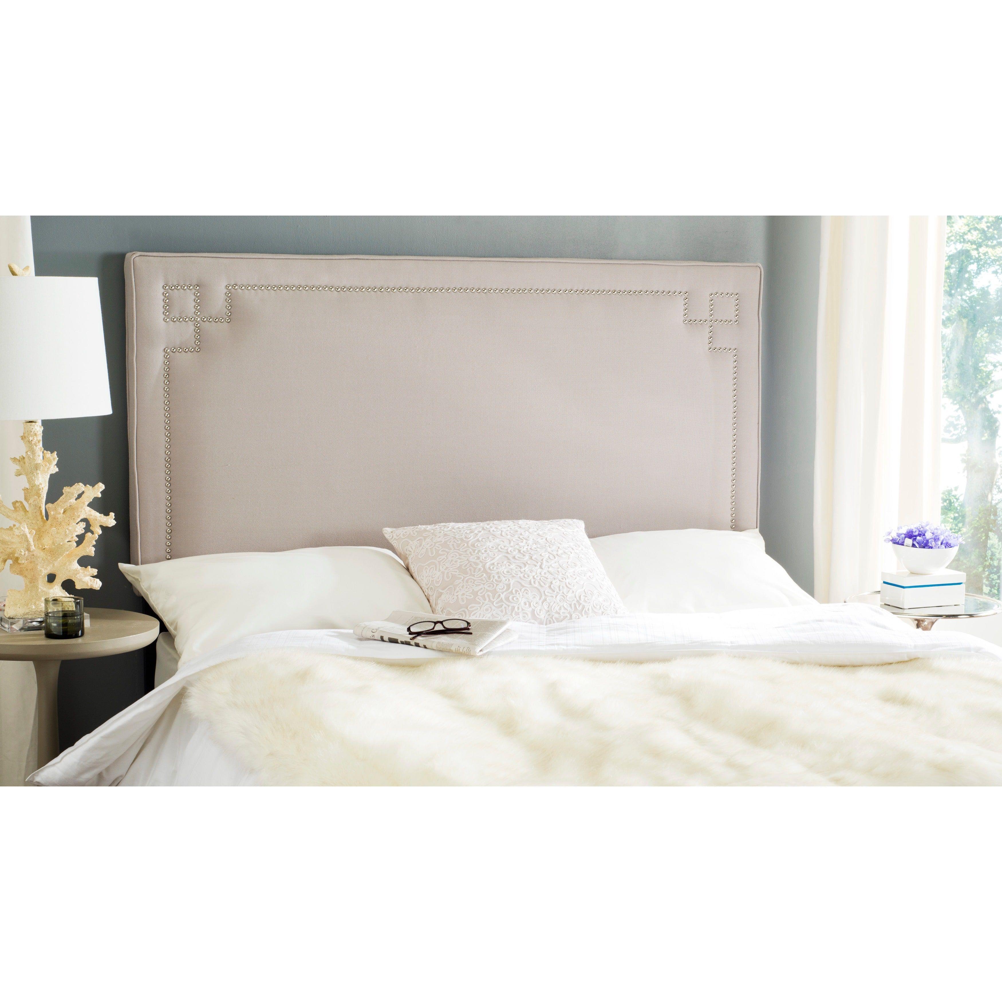 safavieh remington taupe linen upholstered greek key headboard full