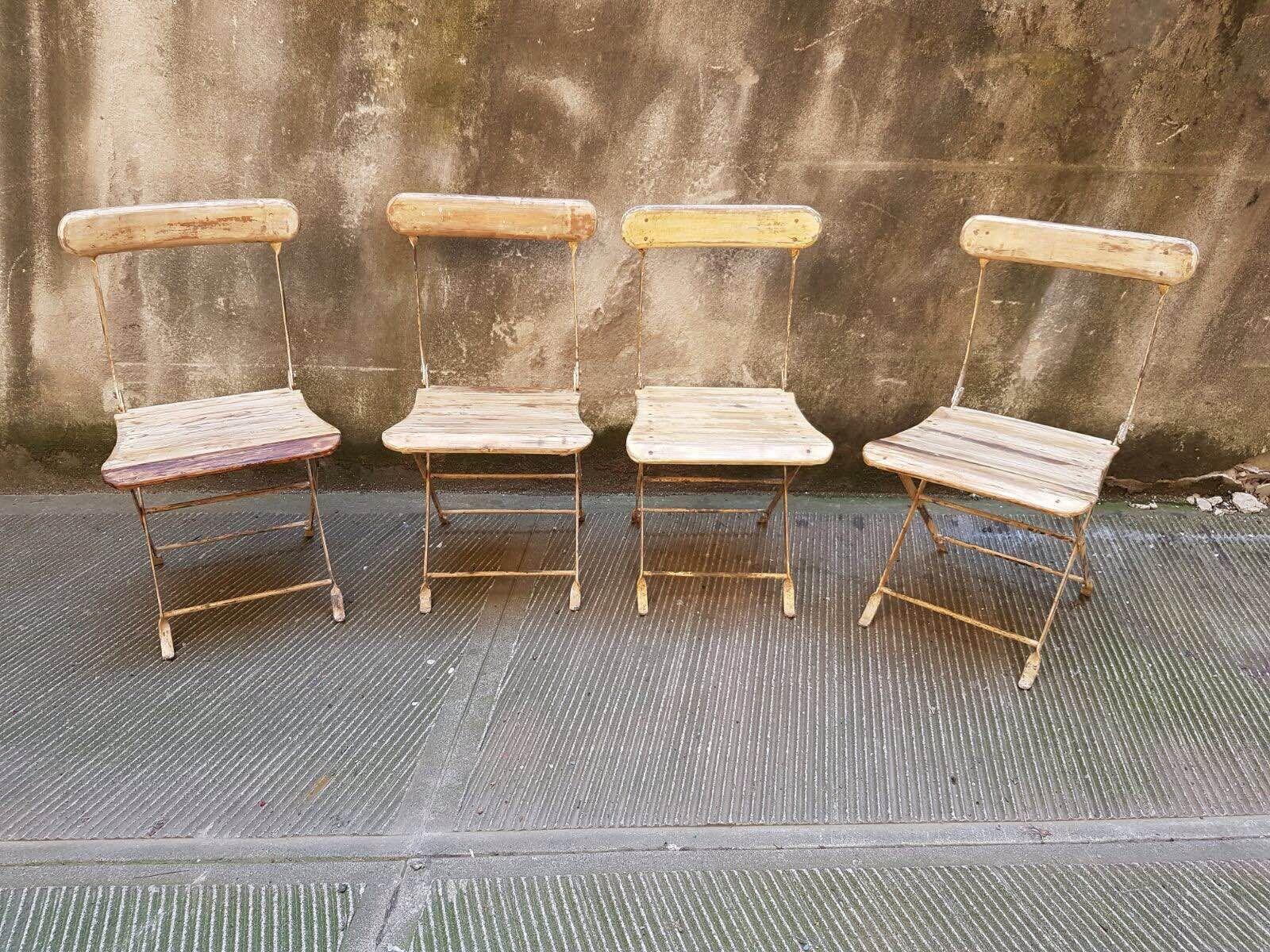 Sedie ripiegabili ~ Set di 6 sedie pieghevoli in legno e ferro anni: 50 cod. prod