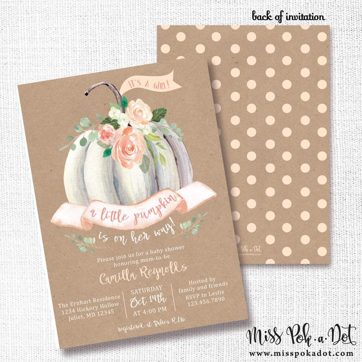 Little Pumpkin Baby Shower Invitation, Printable, Fall Shower Invite, Baby  Girl, Sprinkle, White Pumpkin, Cottage Chic, Boho, Bohemian