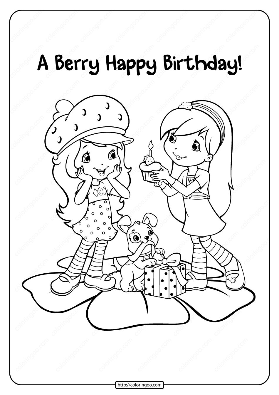 Printable A Berry Happy Birthday Coloring Page in 2020