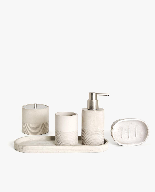 Zara Home Lined Cement Bathroom Set Cement Bathroom Bathroom Sets Bathroom Accessories Home decor bathroom accessory