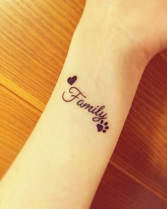 Family tattoo Small tattoo Heart Paw: