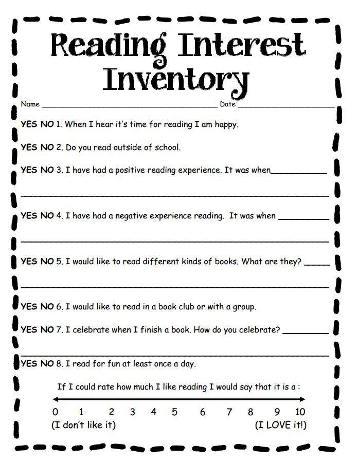 Reading Interest Inventory MediumPdf  Reading