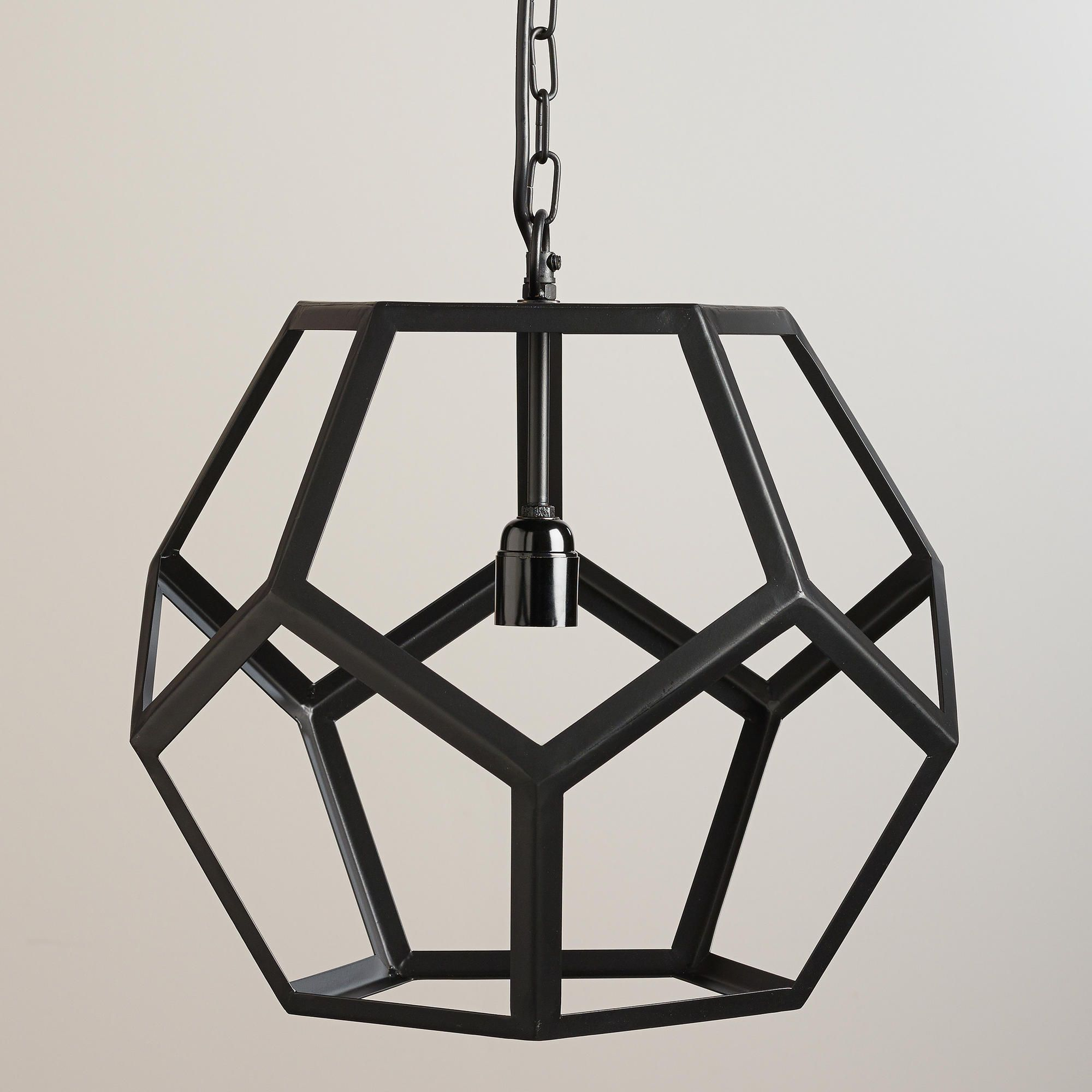 for the entryway to go with dining room light black metal hexagon pendant lamp world market. Black Bedroom Furniture Sets. Home Design Ideas