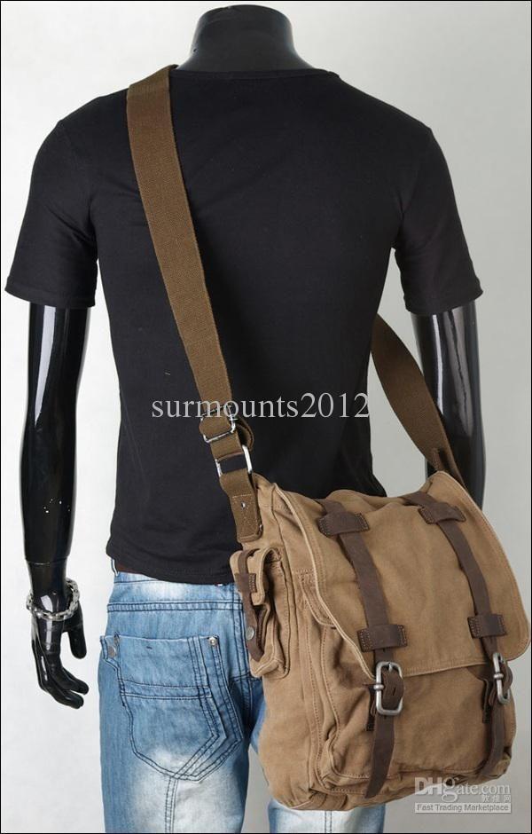 2509a454f75 Newest Military Vintage Men s Canvas Leather Laptop Satchel ...