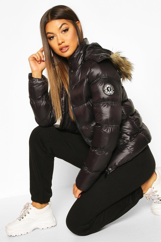 High Shine Hooded Padded Coat With Faux Fur Trim Boohoo Padded Coat Puffer Jacket Women Cute Nike Outfits [ 1500 x 1000 Pixel ]