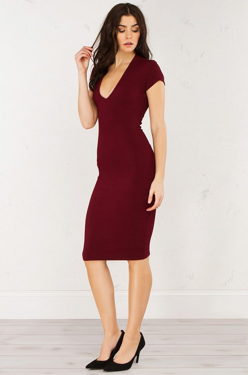 Front view ribbed short sleeve dress in burgundy my style pinterest