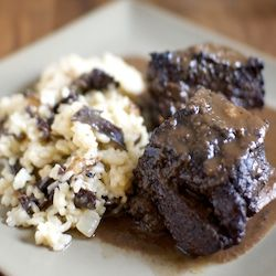 Short ribs braised and smoked all at the same time, with mushroom risotto