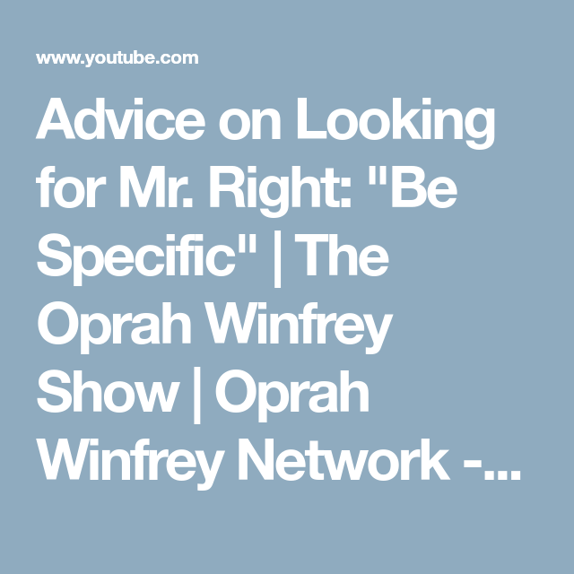 Oprah winfrey relationship advice