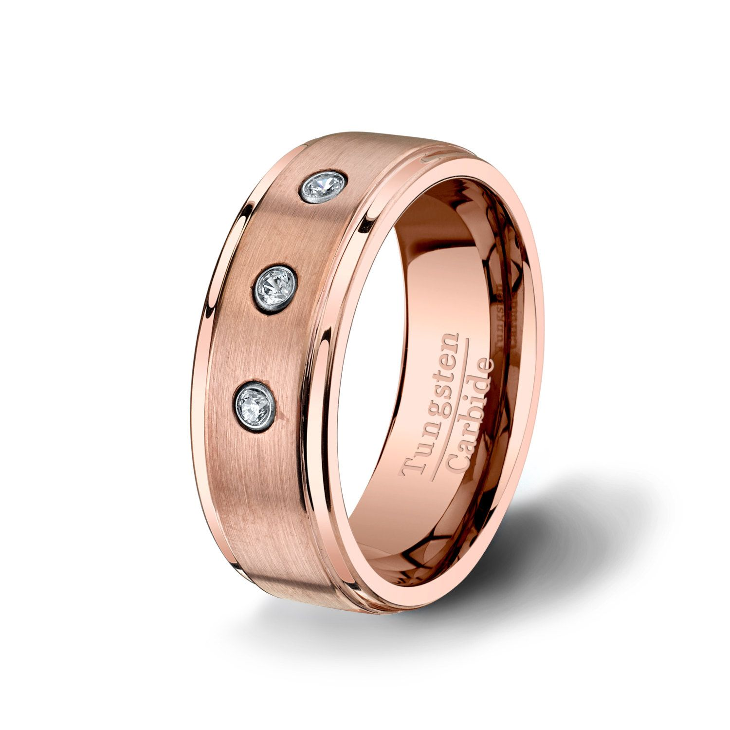 Mens Wedding Band Rose Gold Tungsten Ring with 3 Zircon