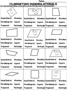 Classifying Quadrilaterals Quadrilateral Quest Game And Practice Sheet Teaching Geometry Classifying Quadrilaterals Math Worksheets
