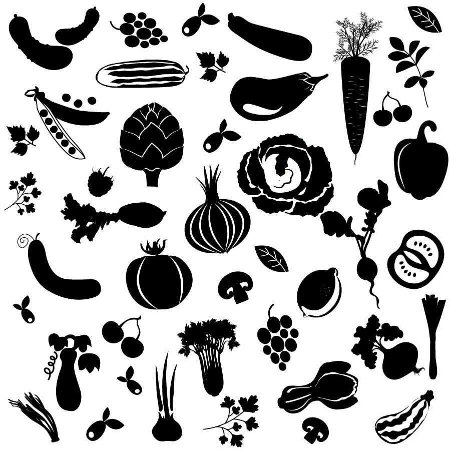 種類が多い野菜のシルエット silhouettes big set of vegetables