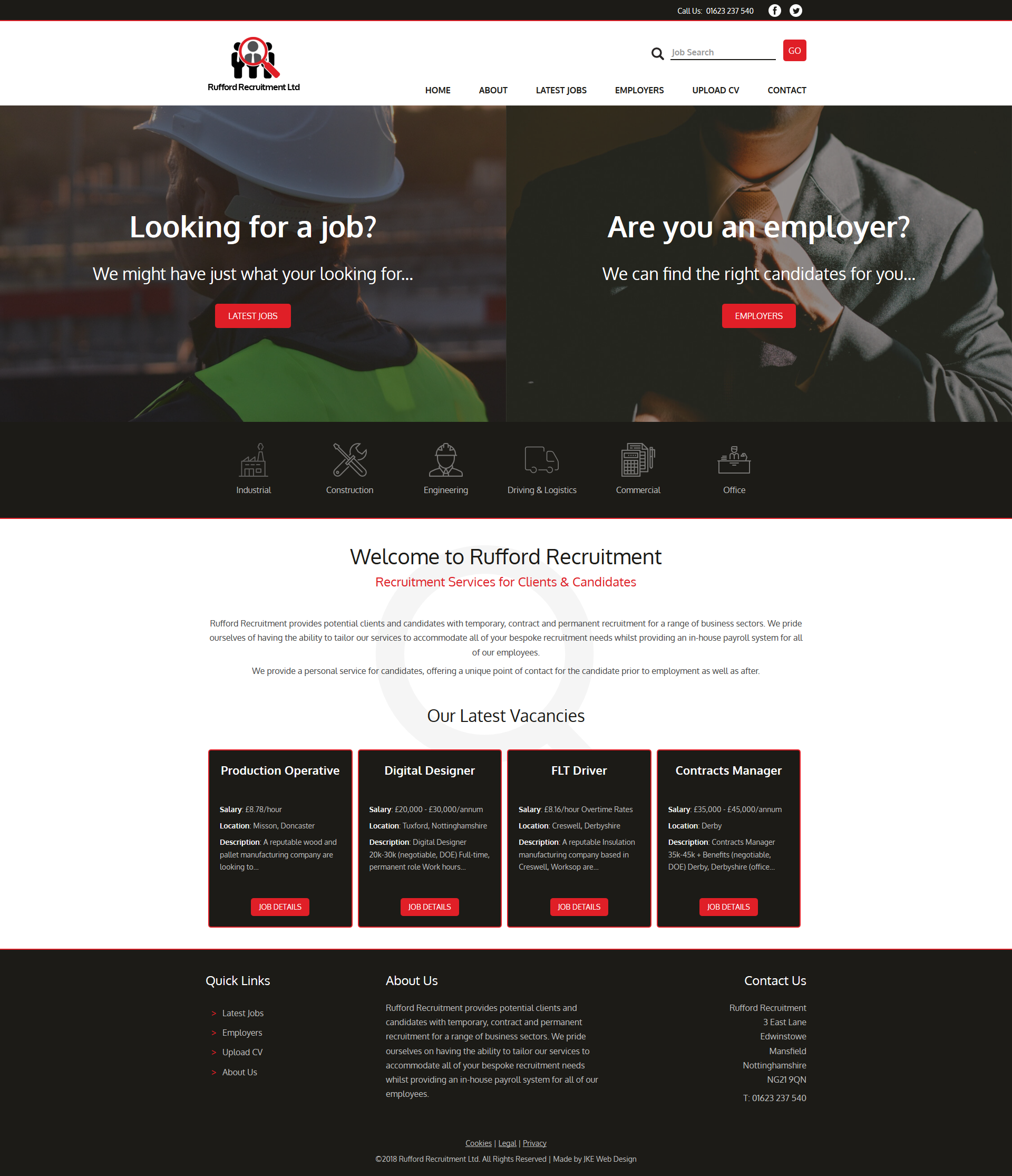 A Recruitment Website Using Red Black And White