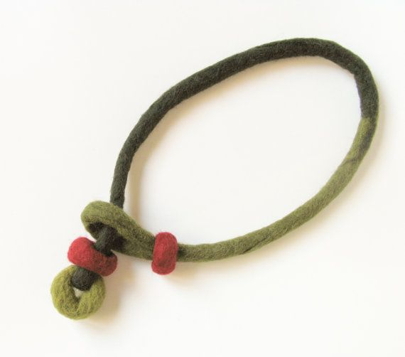Felt Necklace Felt Wool Fiber Jewelry Handmade Gift For Her Eco-friendly Statement Lariat