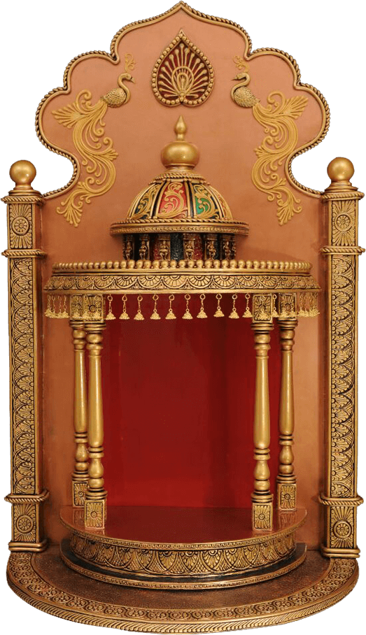 40 Door Design For Mandir Important Ideas: Traditional Handmade Wooden Temple With Decorative Dome