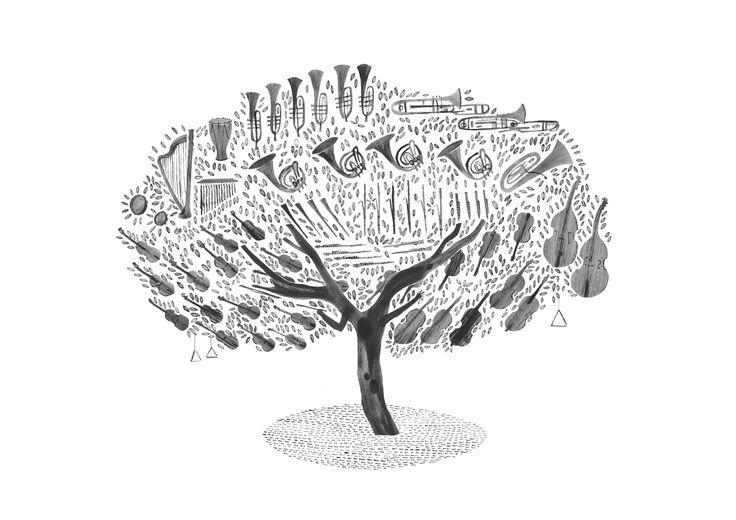 black & white musical tree