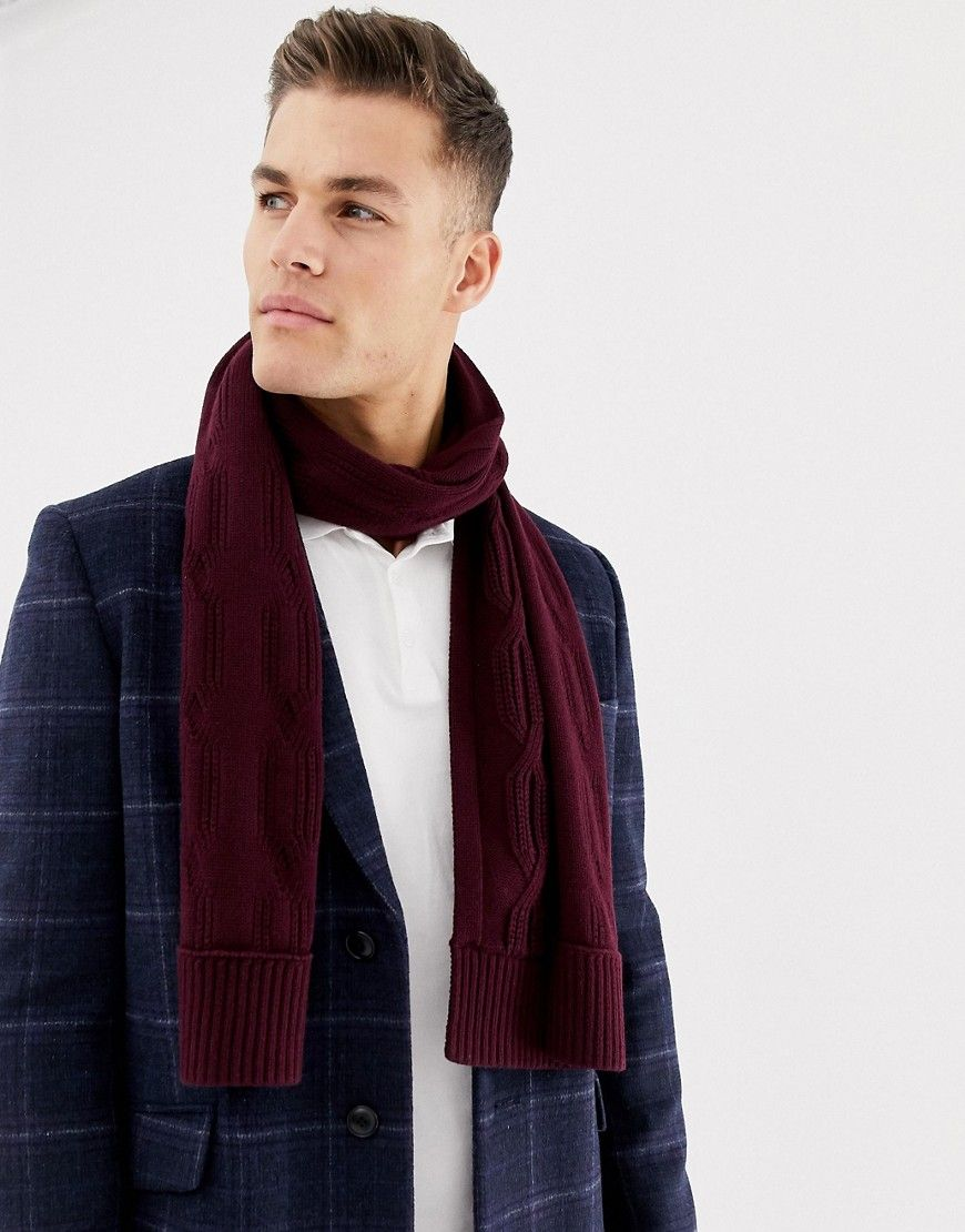 943a742a733 TED BAKER FOSCARF SCARF IN CABLE KNIT - RED.  tedbaker
