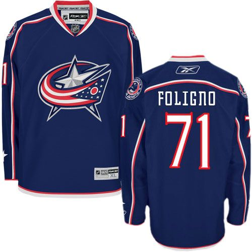 Authentic Nick Foligno Navy Blue Men's NHL Jersey: #71 Columbus Blue Jackets Reebok Home