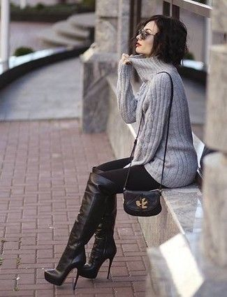 Grey Turtleneck Black Leggings Over The Knee High Heel Bootsthigh