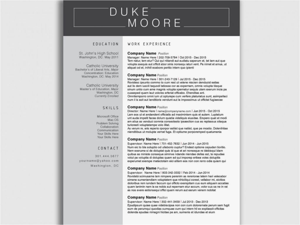 Pin Di Top Resume Template For Modern Job
