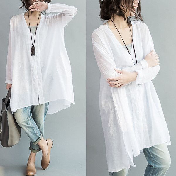 b8c8442155e Loose Fitting Thin Sheer Cotton Shirt Blouse for Women Long Sleeved...  ( 58) ❤ liked on Polyvore featuring tops