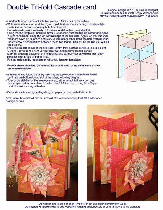 Double Tri-fold Cascade Card Templates, Tips and Tutorials Pinterest