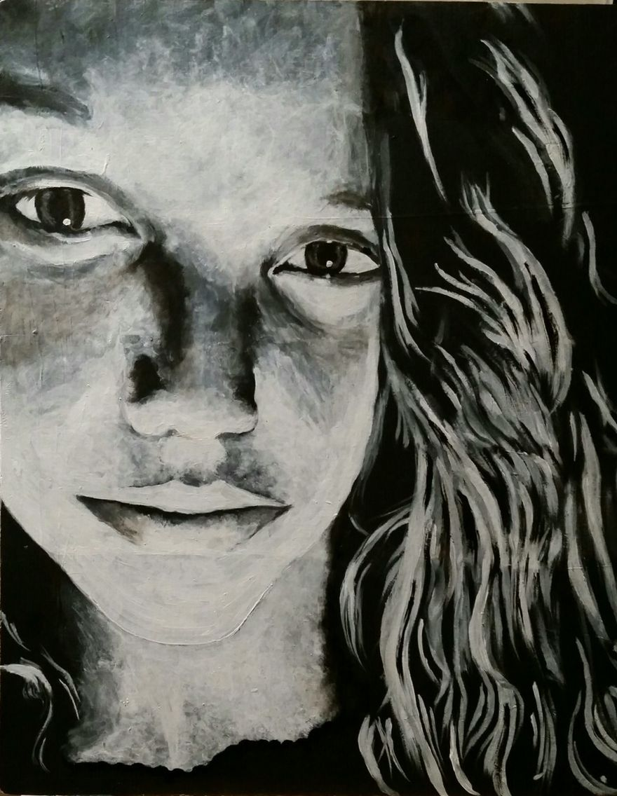 Black and white acrylic self portrait by mallory bushnell