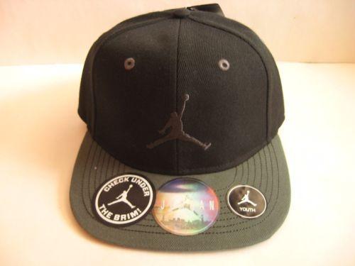e464f75870a New-NIKE-Jordan-Youth-Grade-School-Baseball-Hat-Cap-Black-Gray -Jumpman-Snap-Back