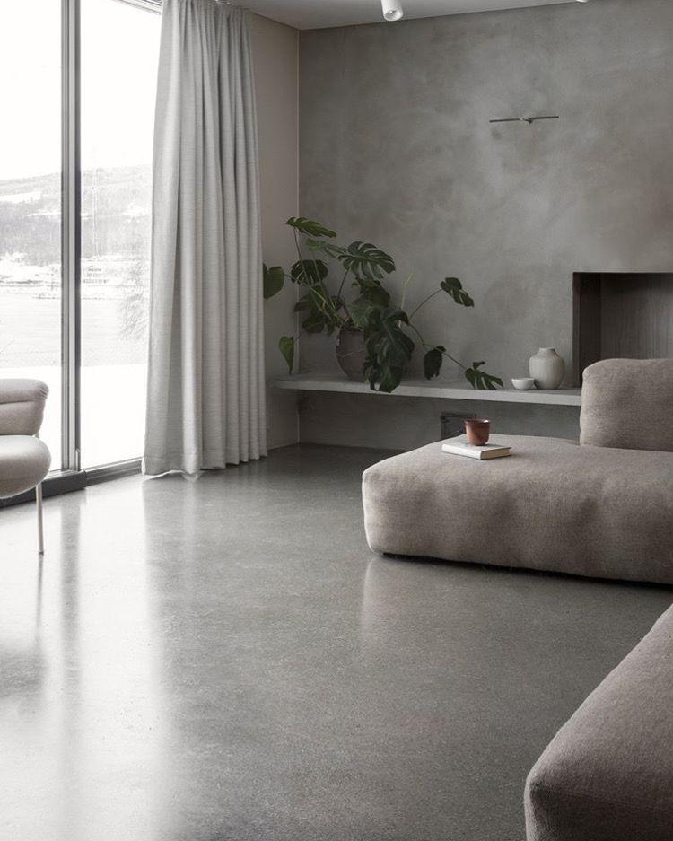 Curtains For Bifolds Concrete Interiors Minimalist Living Room Minimalist Home