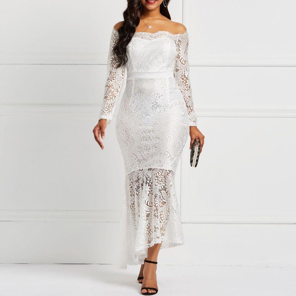 16a6b7d8e15b9 Clocolor Sexy Black White Lace Dress Long Women Off Shoulder ...