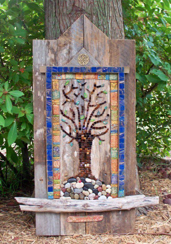 mosaik gartenideen basteln deko holz platten Mosaik Pinterest