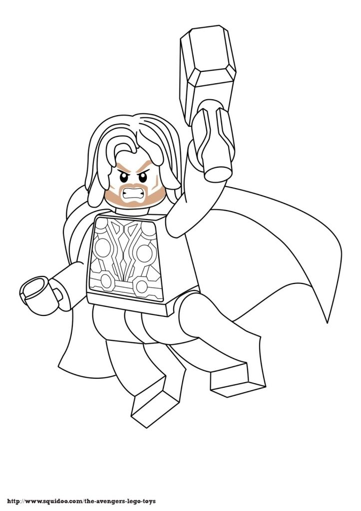Ausmalbilder Marvel Superhelden: Free Lego Marvel Superheroes Thor Coloring Page Printable