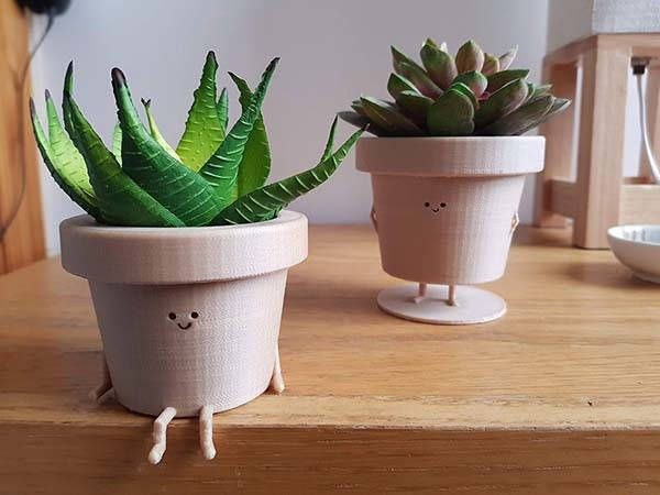 Photo of The Cute 3D Printed Plant Pot Character with Two Optional Postures