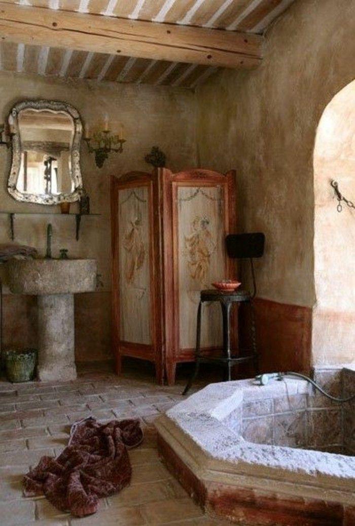 Pareti bagno stile rustico travi vista vasca lavabo pietra specchio muro bagno senza - Pareti bagno senza piastrelle ...