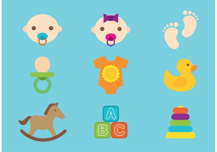 Babies And Toys Vectors