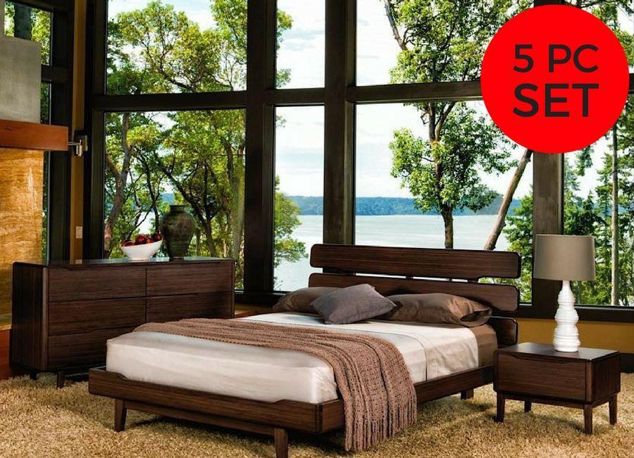 Greenington Modern Currant Queen Bedroom Set (Includes: 1 Queen Bed, 2 Nightstands, 2 Dressers)