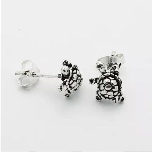 .925 sterling silver turtle stud earrings .925 stamped on post sterling silver turtle earrings! Super cute!!!!!!        1/4 inch big Jewelry Earrings