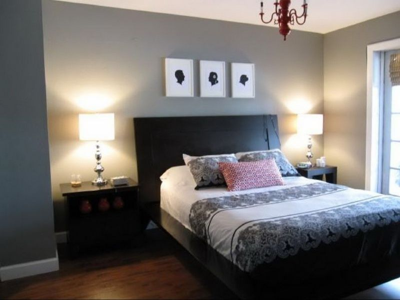 Master Bedroom Gray Walls unusual shaped bedroom, mirrored furniture and oversized lamps
