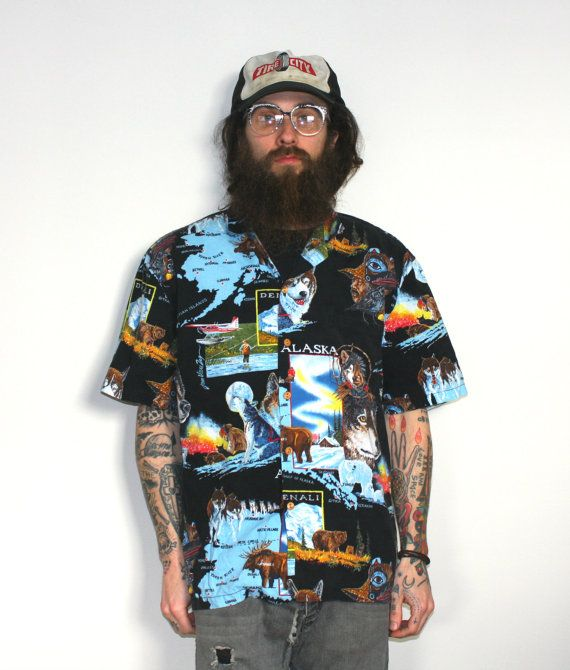 6fea9692 Alaska Wolf and Moose All Over Print Button Up Hawaiian Shirt. Baggy ...