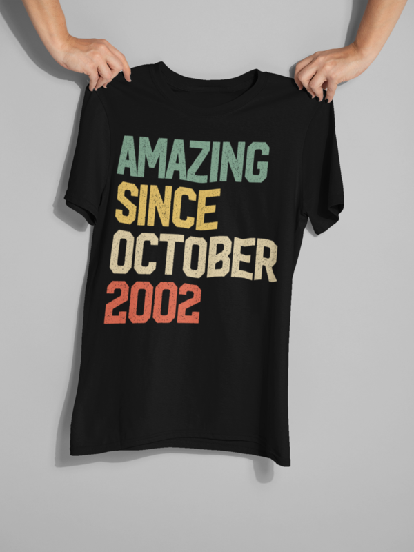 Great 17th Birthday Gift Idea for teens - Amazing Since October 2002 T-Shirt. Amp up collection of accessories: jewelry, seventeen bday decor, decorations, purse, mug, 17 years old birthday presents. This Tshirt - Amazing present for legend, dude, pupil, girl, adolescent, teenagers, son on 17th year party, new year. #17thbirthday Great 17th Birthday Gift Idea for teens - Amazing Since October 2002 T-Shirt. Amp up collection of accessories: jewelry, seventeen bday decor, decorations, purse, mug, #17thbirthday