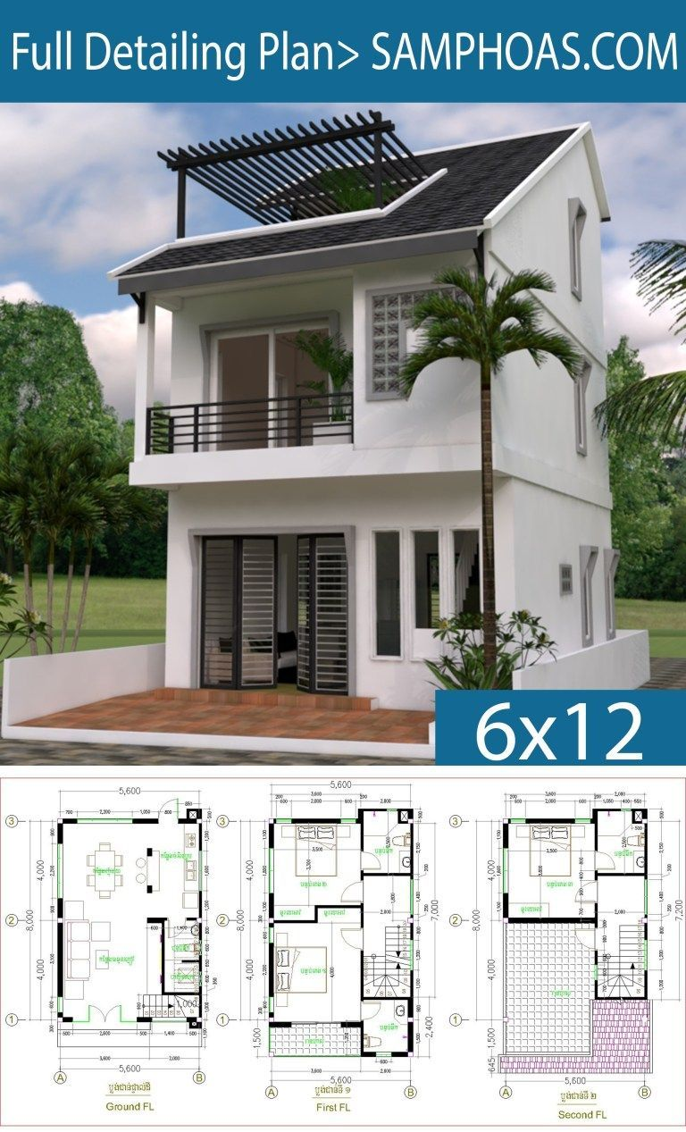 Tiny House 5.6*8m – Drawing From 2D and 3D – SamPhoas Plan
