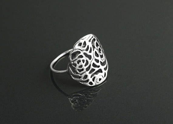 Rose Filigree Ring Sterling Silver Rose Blossom Ring Romantic